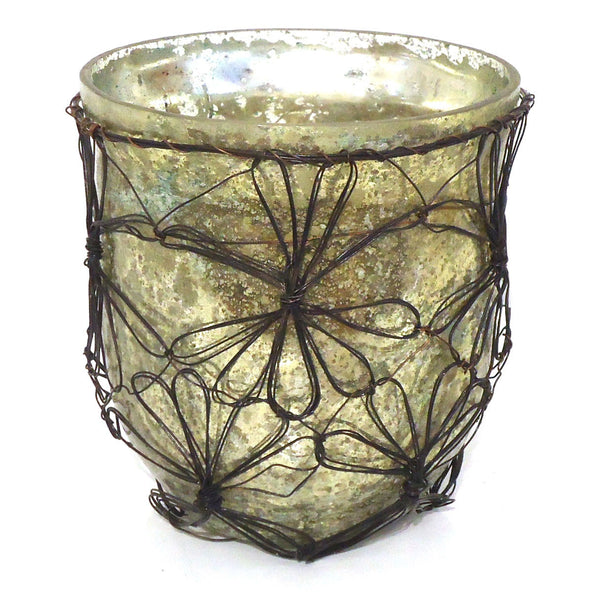 Glass with Wire Flower Votive
