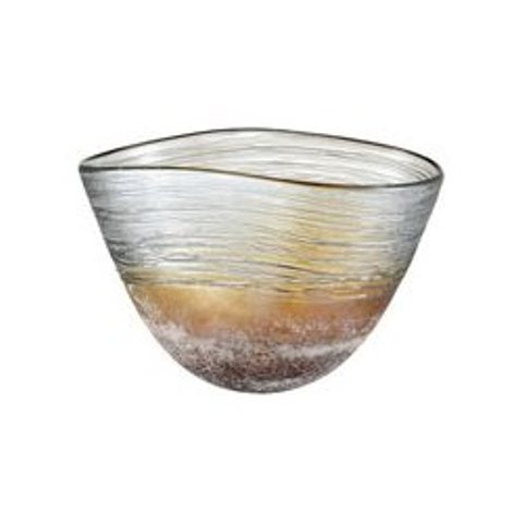 Iridescent amber glass bowl with textured banding