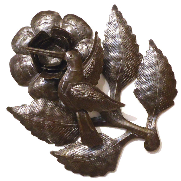 Haitian Metal Wall Sculpture: Large Hummingbird & Flower