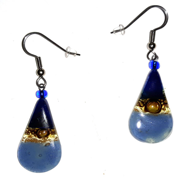 Teardrop Glass Earrings - Blues