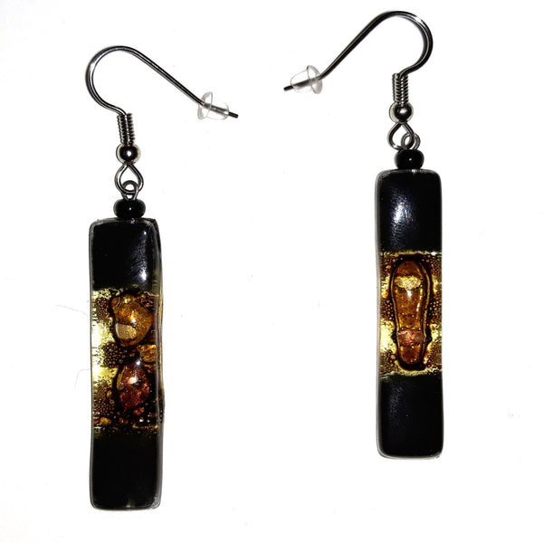 Long Rectangle Glass Earrings - Black / Bronze