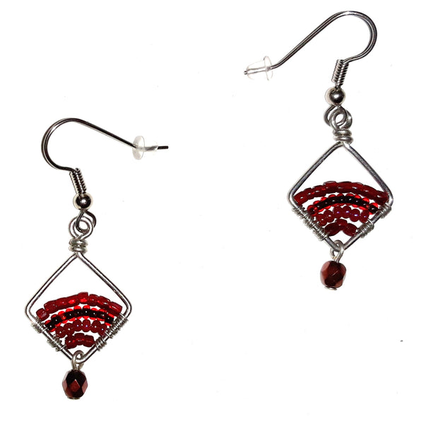 Seed Bead Diamond Earrings - Red