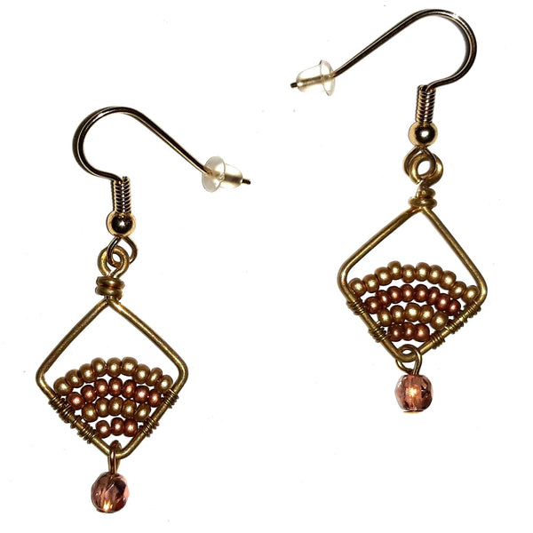 Seed Bead Diamond Earrings - Gold