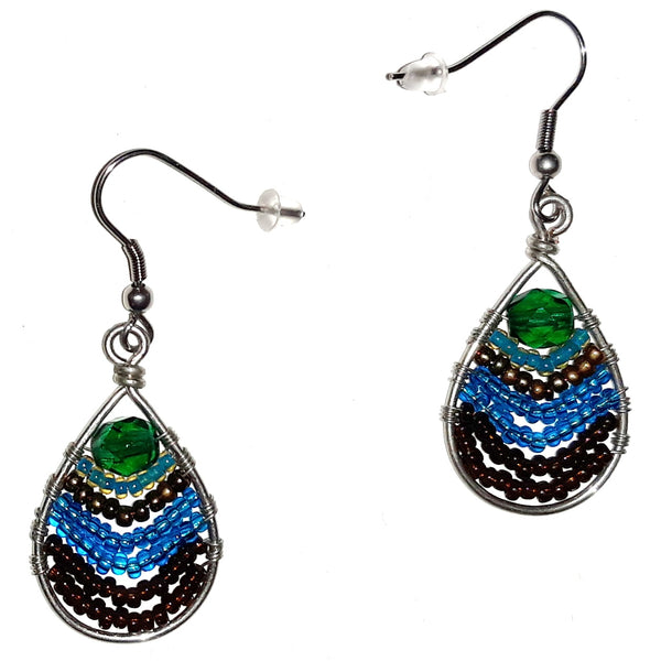 Seed Bead Teardrop Earrings - Peacock