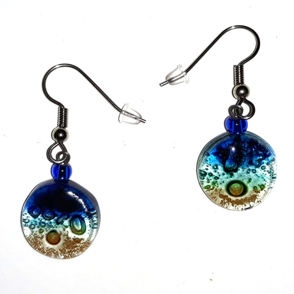 Tiny Round Glass Earrings - Cobalt