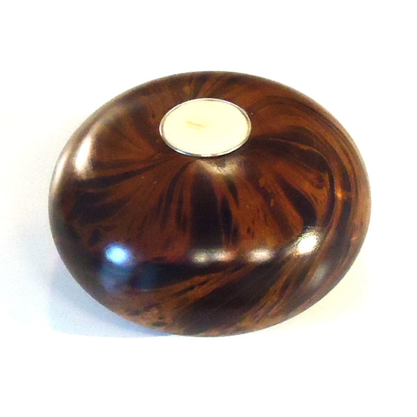 Round Mango Wood Candle Holder