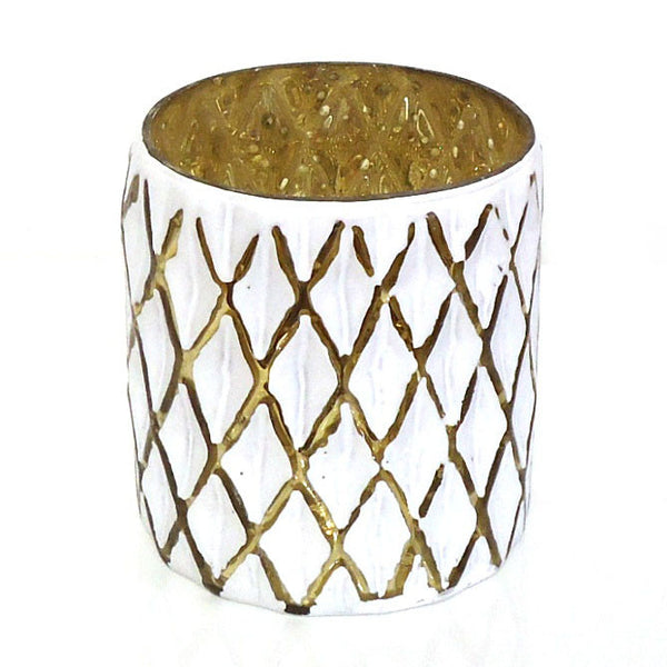 White with Gold Votive