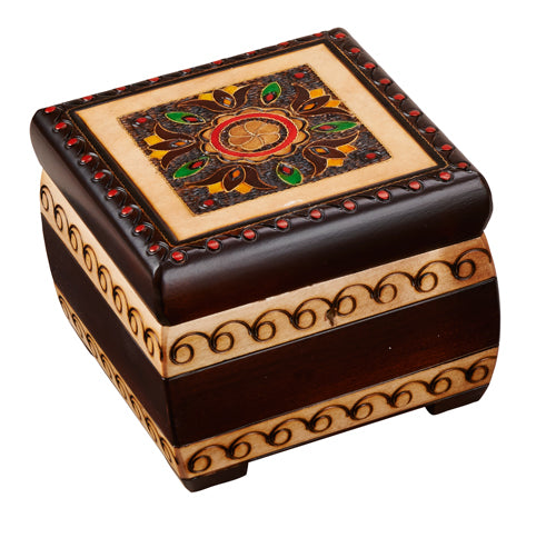 Carved Wood Box - Floral with Brass Inlay