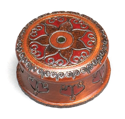 Carved Wood Box - Round Sunburst