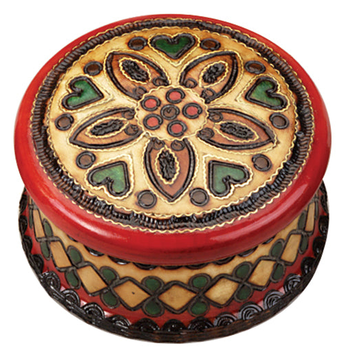 Carved Wood Box - Round Red & Green