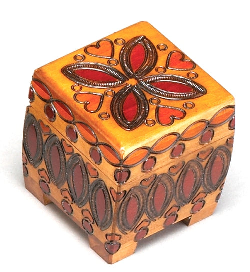 Carved Wood Box - Hearts & Flowers