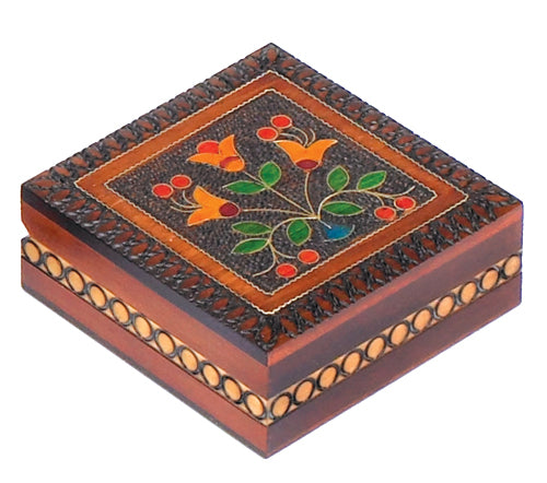 Carved Wood Box - Floral Square