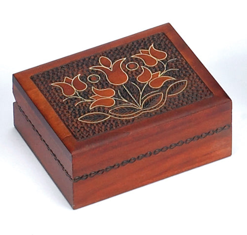 Carved Wood Box - Floral Rectangle