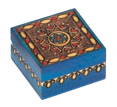 Carved Wood Box - Circle Pattern