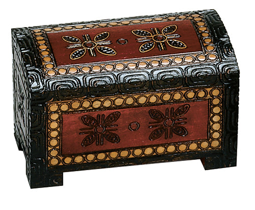 Carved Wood Box - Miniature Treasure