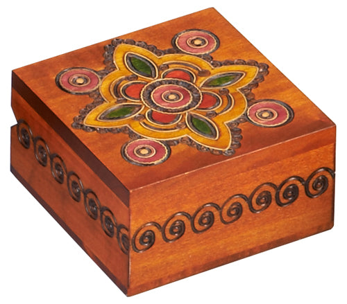 Carved Wood Box - Medallion