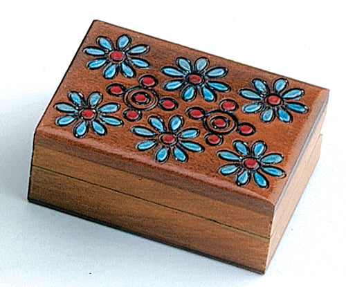 Carved Wood Box - Six Flowers