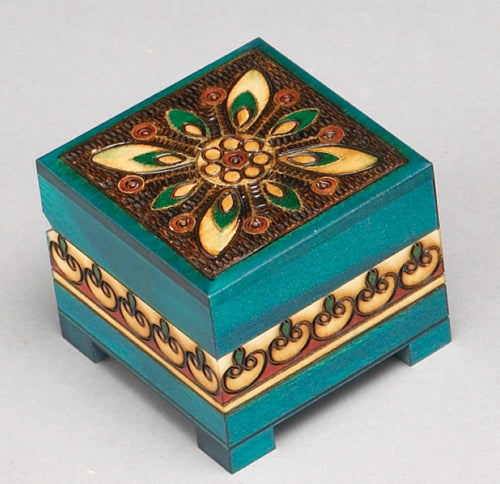 Carved Wood Box - Turquoise