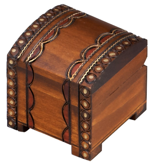 Carved Wood Box - Brass Inlay