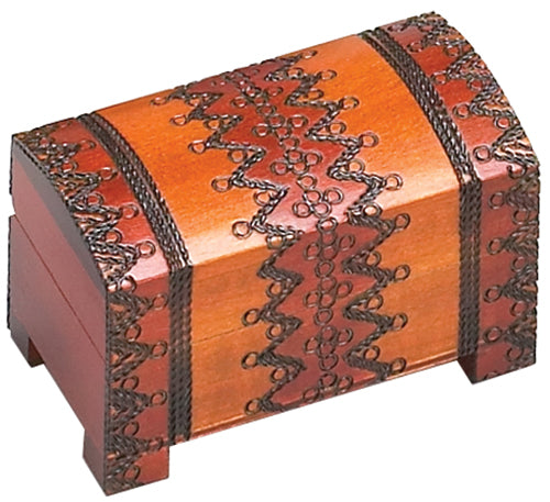 Carved Wood Box - Orange Chest