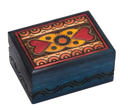 Carved Wood Box - Blue with Hearts