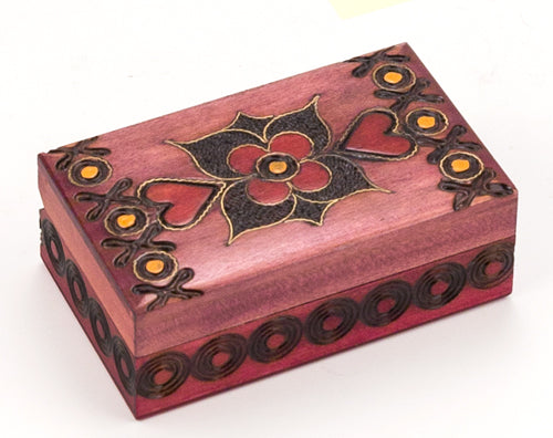 Carved Wood Box - Pink Hearts