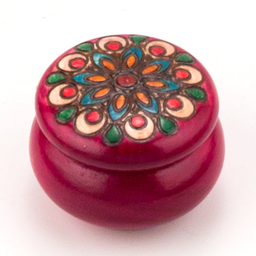 Carved Wood Box - Round Red