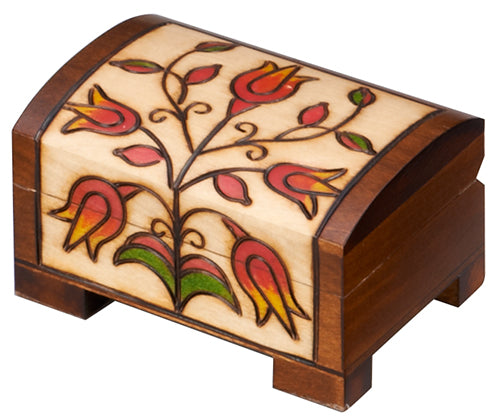 Carved Wood Box - Floral Chest