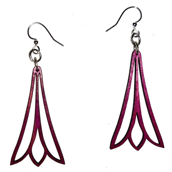 Wood Earrings - Fuchsia Trumpet Flower