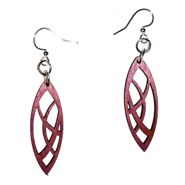 Wood Earrings - Violet Pointed Oval