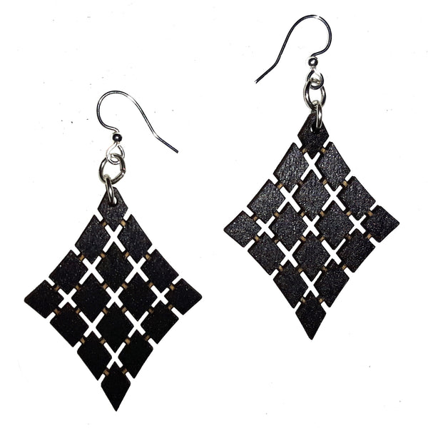 Wood Earrings - Black Floating Diamonds