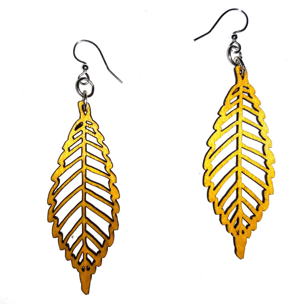 Wood Earrings - Yellow Autumn Leaf