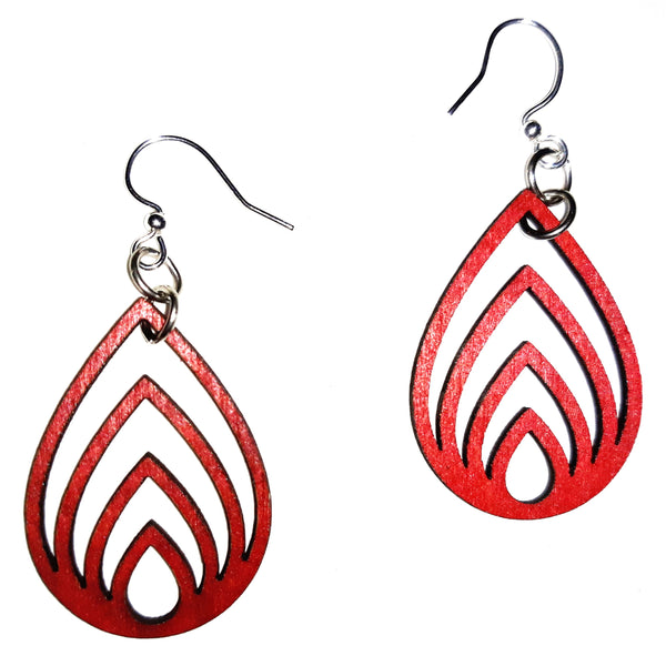 Wood Earrings - Red Layered Drop