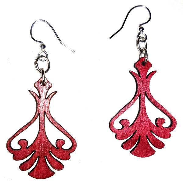 Wood Earrings - Magenta Iron Art