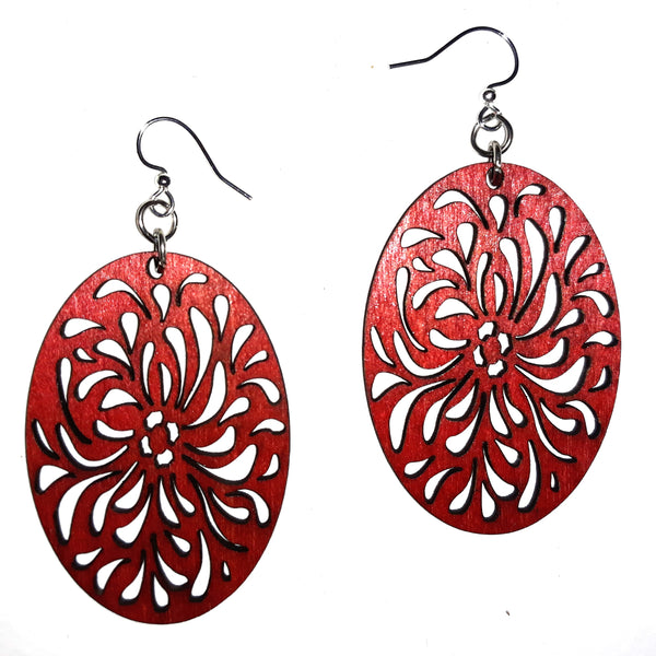 Wood Earrings - Red Raindrop Splashes