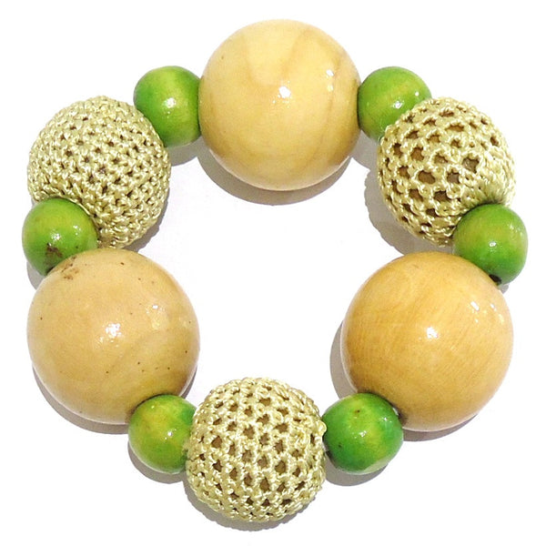 Wood Bead with Crochet Bracelet