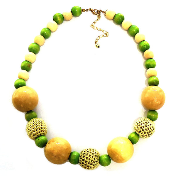 Wood Bead with Crochet Necklace