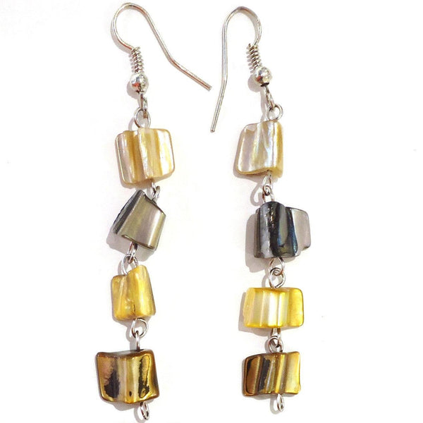Long, narrow earrings made with yellow, grey and bronze striped abalone shell beads.