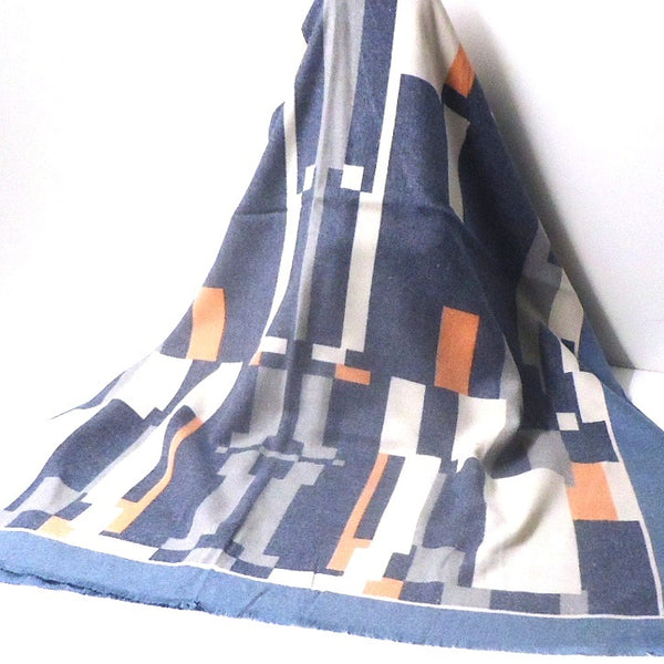 Geometric Icon Scarf, Blue