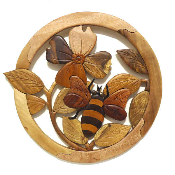 Wood Wall Sculpture: Bee & Dogwood