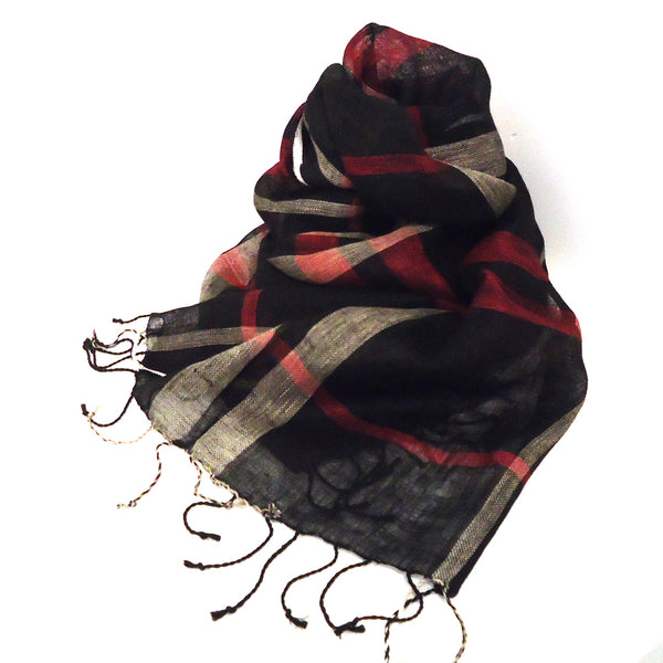 Black and Red Linen Scarf