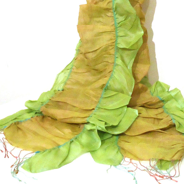 Cotton and Silk Ruffle Scarf, Lemon/Lime