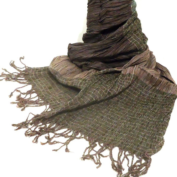 Teal & Taupe Cotton Scarf