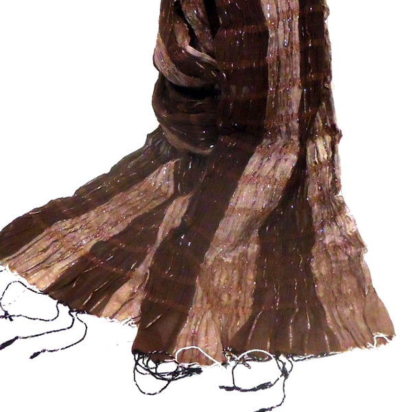 Silk & Cotton Scarf, Chocolate