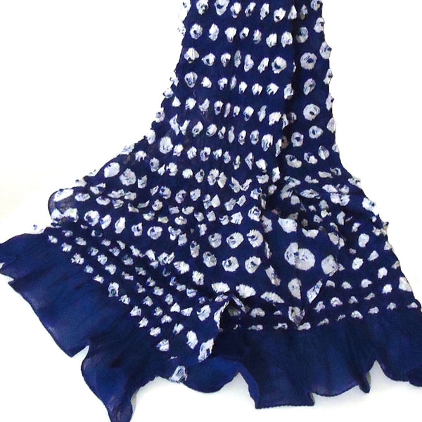Bandhani Cotton Scarf, Navy & White