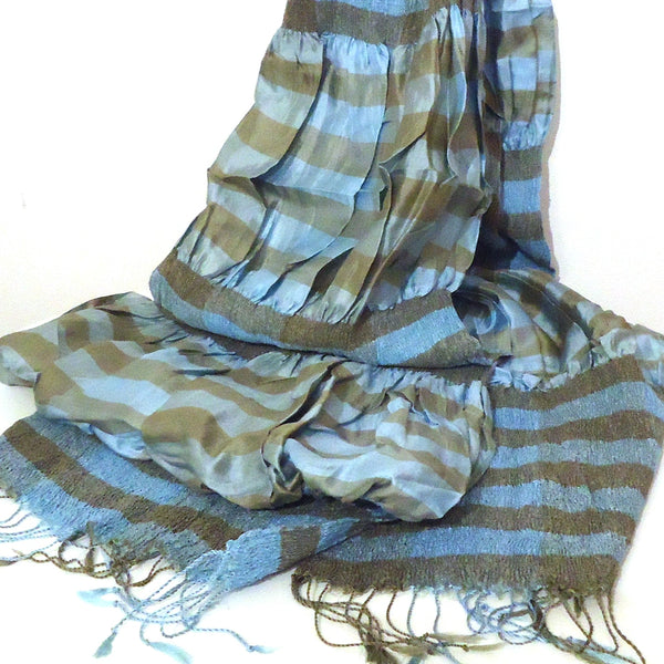 Silk Stripe Scarf, Blue & Silver