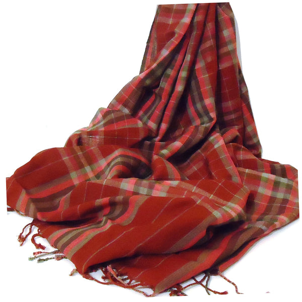 Wool & Cotton Plaid Scarf