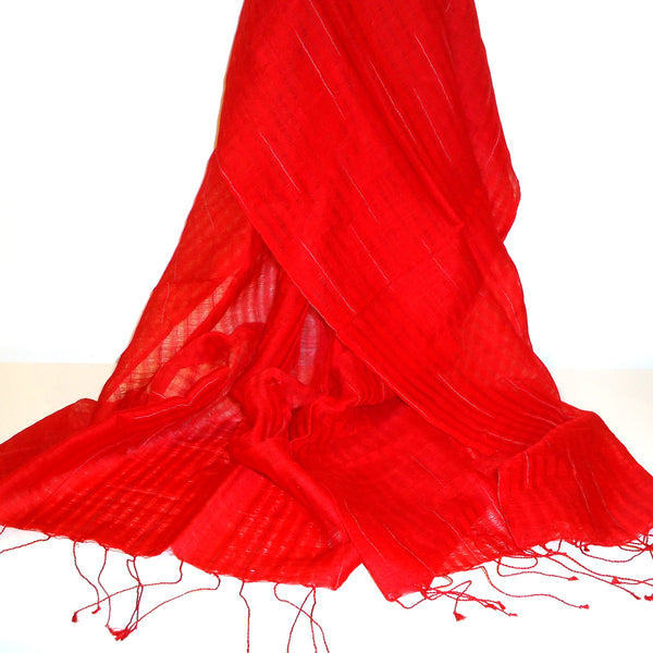 Red Silk and Wool Scarf