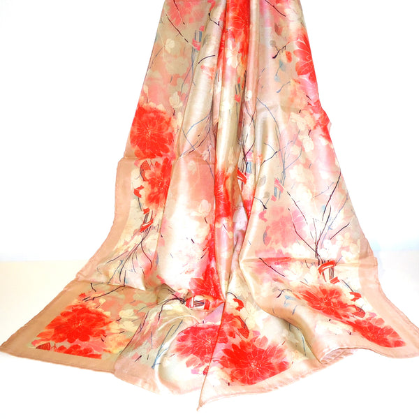 Red Blossoms Cupro Scarf