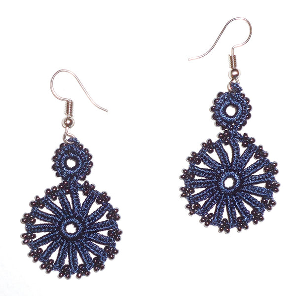 Chain of Circles Earrings - Navy